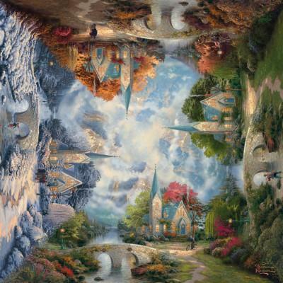 Puzzle Schmidt-Spiele-59295 Thomas Kinkade: Die Kirche in den Bergen