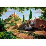 Puzzle  Schmidt-Spiele-59373 Carl Warner, Toskanische Landschaft, kulinarische Landschaft