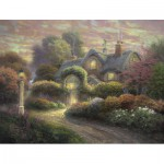 Puzzle  Schmidt-Spiele-59466 Thomas Kinkade, Cottage im Rosengarten