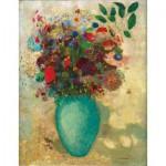 Puzzle-Michele-Wilson-A137-150 Puzzle aus handgefertigten Holzteilen - Redon: Blumen in einer türkisen Vase