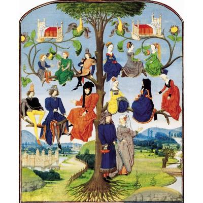Puzzle-Michele-Wilson-A203-250 Puzzle aus handgefertigten Holzteilen - Mittelalterlicher Stammbaum