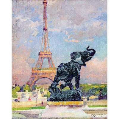 Puzzle-Michele-Wilson-A277-80 Puzzle aus handgefertigten Holzteilen - Renoux: Der Eiffelturm und der Elefant