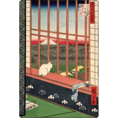 Puzzle-Michele-Wilson-A286-350 Puzzle aus handgefertigten Holzteilen - Hiroshige: Katze vor Reisfeldern