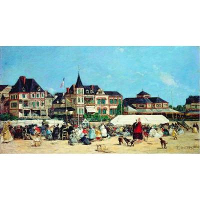 Puzzle-Michele-Wilson-A316-750 Puzzle aus handgefertigten Holzteilen - Eugène Boudin: Das Casino von Trouville