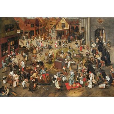 Puzzle-Michele-Wilson-A338-750 Puzzle aus handgefertigten Holzteilen - Brueghel: Der Kampf zwischen Karneval und Fasten