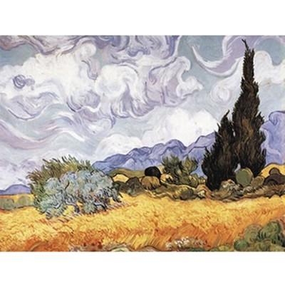 Puzzle-Michele-Wilson-A723-750 Puzzle aus handgefertigten Holzteilen - Vincent van Gogh: Weizenfeld mit Zypresse