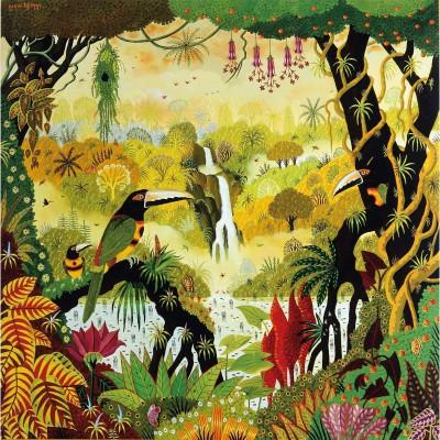Puzzle-Michele-Wilson-A850-80 Puzzle aus handgefertigten Holzteilen - Alain Thomas: Tukan am Wasserfall