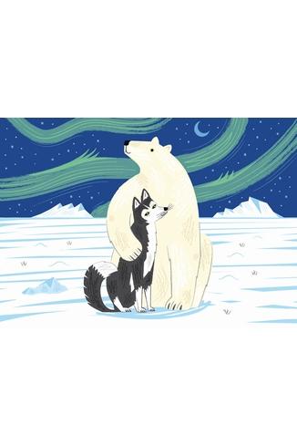 Puzzle-Michele-Wilson-W160-12 Puzzle aus handgefertigten Holzteilen - Lake: Der Bär und der Husky