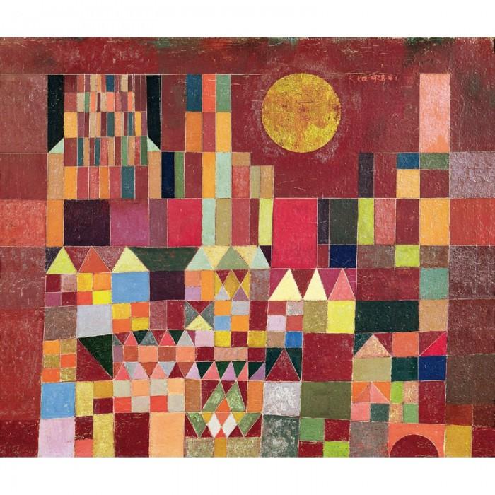 Puzzle aus handgefertigten Holzteilen - Paul Klee: Burg und Sonne