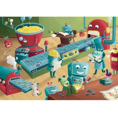Puzzle-Michele-Wilson-W304-100 Puzzle aus handgefertigten Holzteilen - Nicoletta Azzolini: Die Roboter