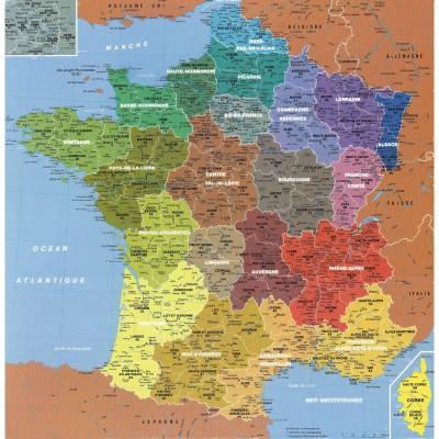 Puzzle-Michele-Wilson-W50-100 Puzzle aus handgefertigten Holzteilen - Frankreichkarte, 1 Departement = 1 Teil