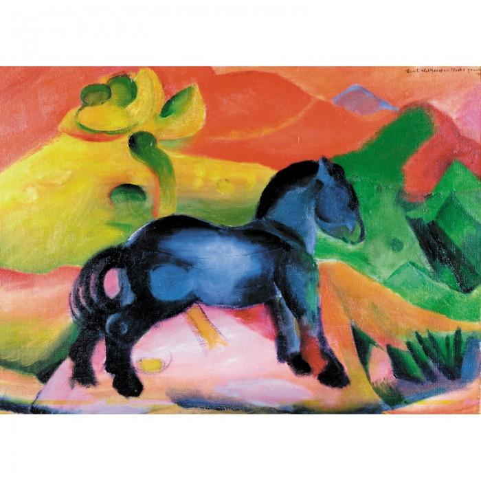 Puzzle aus handgefertigten Holzteilen - Franz Marc: Kleines blaues Pferd