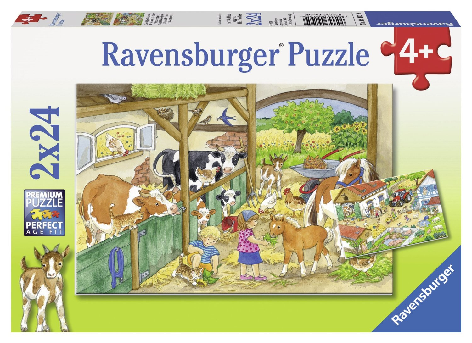 2 puzzles ein tag auf dem bauernhof 24 teile ravensburger puzzle online kaufen. Black Bedroom Furniture Sets. Home Design Ideas