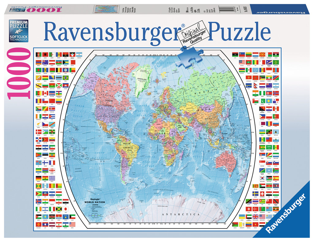 politische weltkarte 1000 teile ravensburger puzzle online kaufen. Black Bedroom Furniture Sets. Home Design Ideas