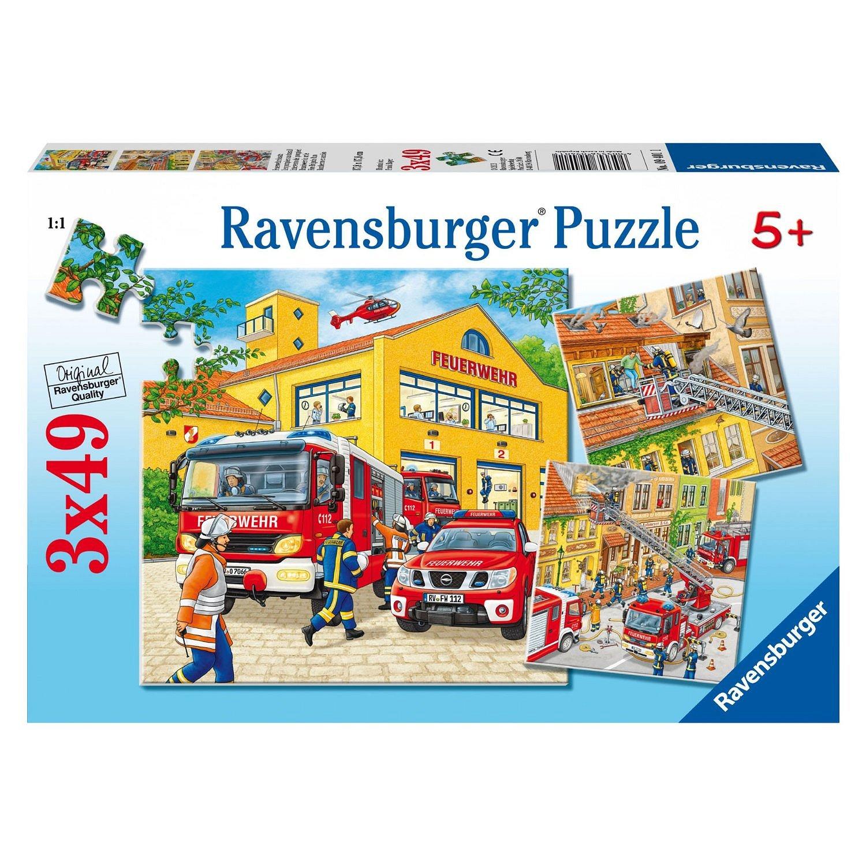 feuerwehreinsatz 3x49 teile puzzle set ravensburger puzzle online kaufen. Black Bedroom Furniture Sets. Home Design Ideas