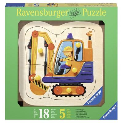 Ravensburger-03226 Holz Konturpuzzle - Gelber Bagger
