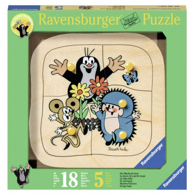 Ravensburger-03228 Holz Konturpuzzle - Maulwurf tanzt