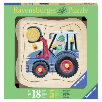 Ravensburger-03229 Holz Konturpuzzle - Blauer Traktor