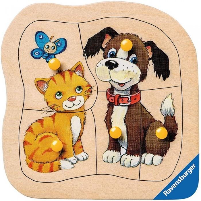 Holzpuzzle - Hund und Katze