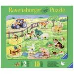Ravensburger-03673 Holzpuzzle - Heimische Tierkinder