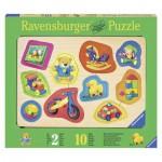 Ravensburger-03679 Holz Konturpuzzle - Meine liebsten Spielsachen