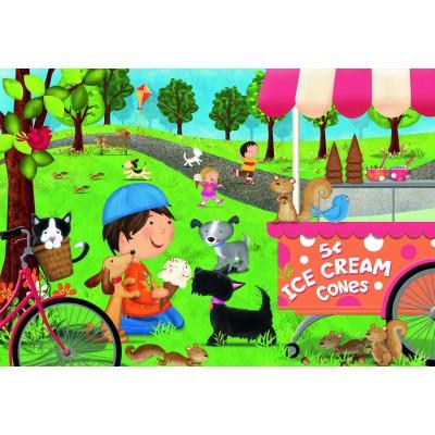 Ravensburger-05448 Riesen-Bodenpuzzle - Dogs Love Ice Cream