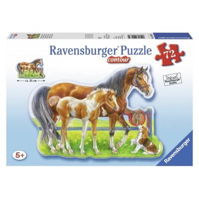 Ravensburger-05584 Contour Puzzle - Pferdeidylle