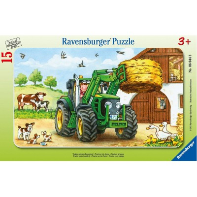 Ravensburger-06044 Rahmenpuzzle: 15 Teile: Traktor auf dem Bauernhof
