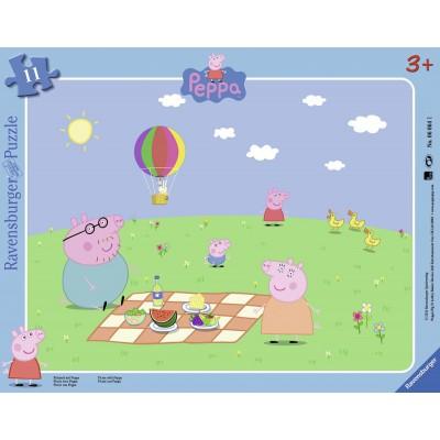 Puzzle Ravensburger-06064 Picknick mit Peppa