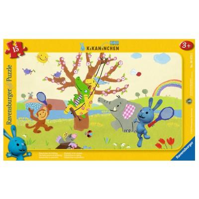 Ravensburger-06073 Rahmenpuzzle - Kikaninchen im Frühling