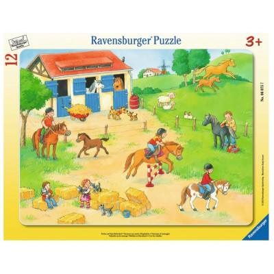 Ravensburger-06075 Rahmenpuzzle - Ferien auf dem Reiterhof