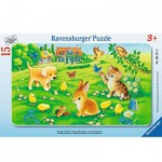 Ravensburger-06111 Rahmenpuzzle - Kuschlige Tierkinder