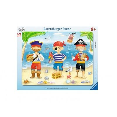 Ravensburger-06112 Rahmenpuzzle - Piraten auf Entdeckungsr.