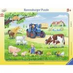 Ravensburger-06117 Rahmenpuzzle - Sommer auf dem Bauernhof
