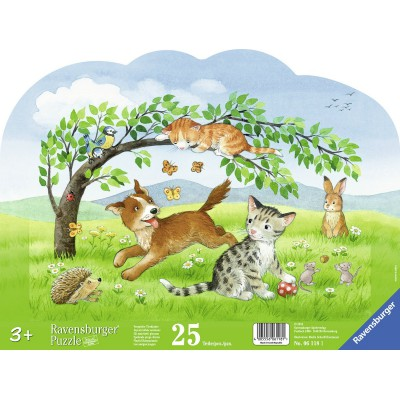 Ravensburger-06118 Rahmenpuzzle - Verspielte Tierkinder