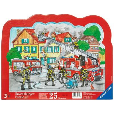 Ravensburger-06396 Rahmenpuzzle - Löscheinsatz der Feuerwehr