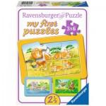 Ravensburger-06574 3 Puzzles - My First Puzzle - Affe, Elefant und Löwe
