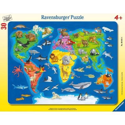 Puzzle Ravensburger-06641 Weltkarte mit Tieren