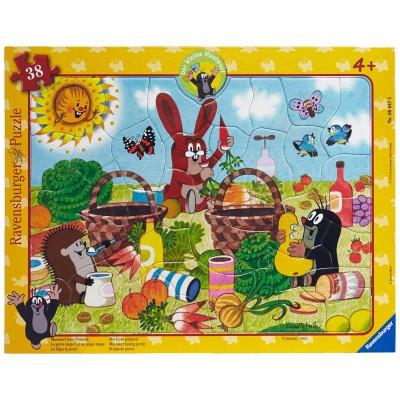 Ravensburger-06647 Rahmenpuzzle - Der kleine Maulwurf, Picknick