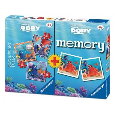 Ravensburger-06871 3 Puzzles Findet Dorie + Memory