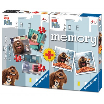 Ravensburger-06872 3 Puzzles The Secret Life of Pets + Memory