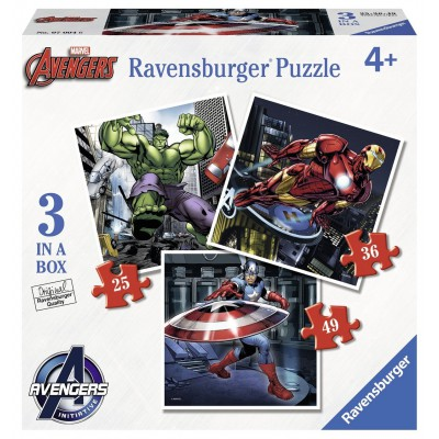 Ravensburger-07004 3 Puzzles - Avengers