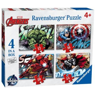 Ravensburger-07021 4 Puzzles - Marvel