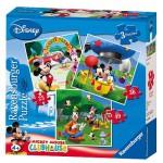 Ravensburger-07088 Puzzle 3 Stück - Mickey und seine Freunde: Mickey Mouse Clubhaus