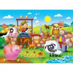 Ravensburger-07109 Riesen-Bodenpuzzle - Farmyard Friends