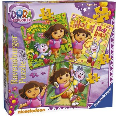 Ravensburger-07134 3 Puzzles - Dora die Entdeckerin