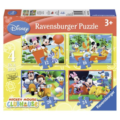 Ravensburger-07142 4 Puzzles - Mickey Mouse Club House
