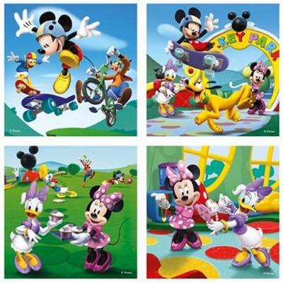 Ravensburger-07214 4 Puzzles - 25 und 36 Teile: Mickey und seine Freunde amüsieren sich