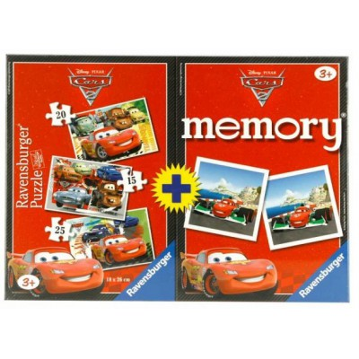 Ravensburger-07227 3 Puzzles + 1 Memory 48 Teile - Cars
