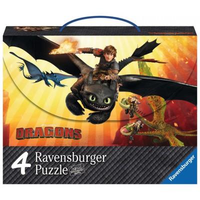Ravensburger-07261 4 Puzzles - Dragons